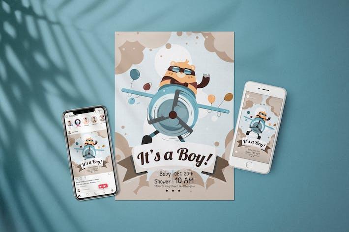 Thumbnail for Boy Baby Shower Invitation - Flyer Media Kit