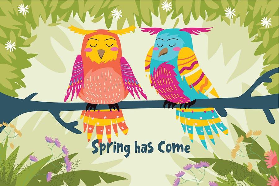 Spring Come - Vector Illustration
