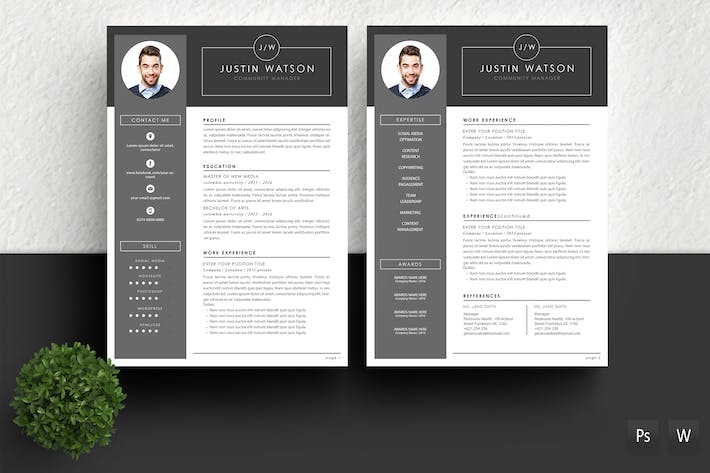 Thumbnail for Professional Resume Template Justin Watson