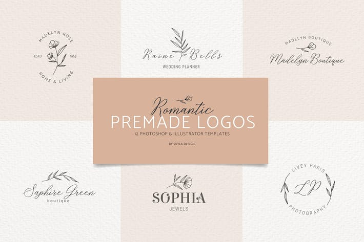 Thumbnail for Romantic Feminine Premade Logos