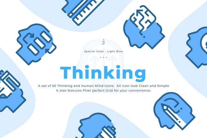 Thumbnail for 50 Human mind and Thinking Icons - Light Blue