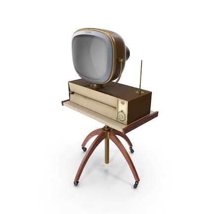 Vintage Antiguo TV de los años 50 con soporte
