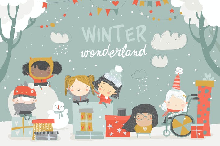 Thumbnail for Cartoon different children enjoying winter. Hello