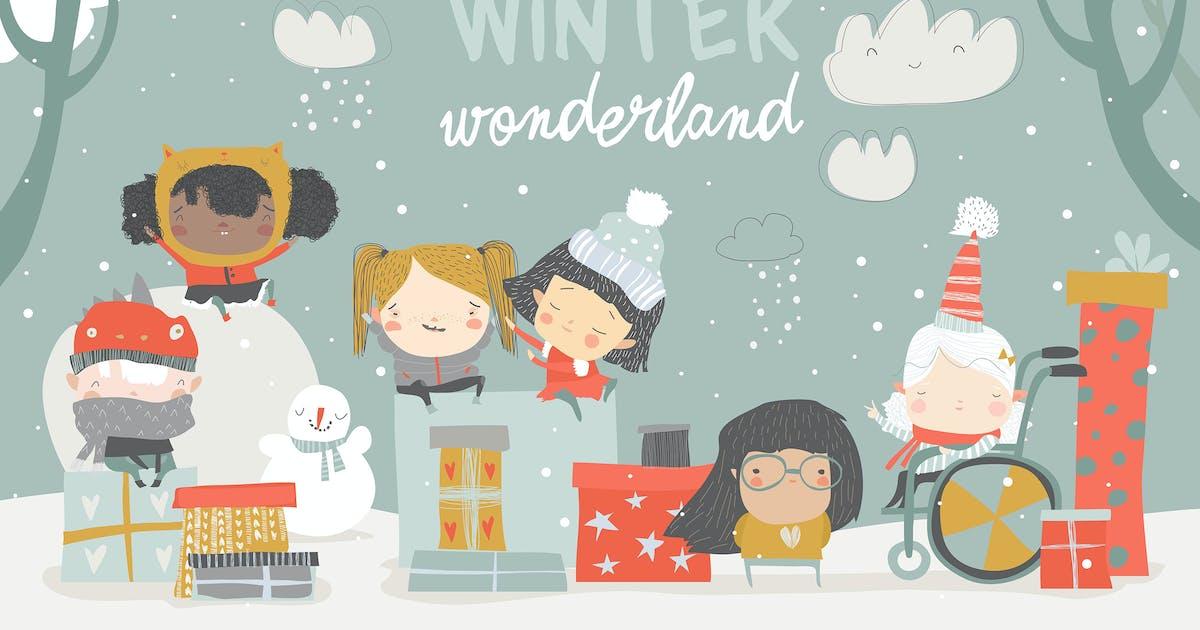 Download Cartoon different children enjoying winter. Hello by masastarus