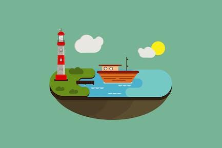 Sea Flat Landscape - Illustration BG