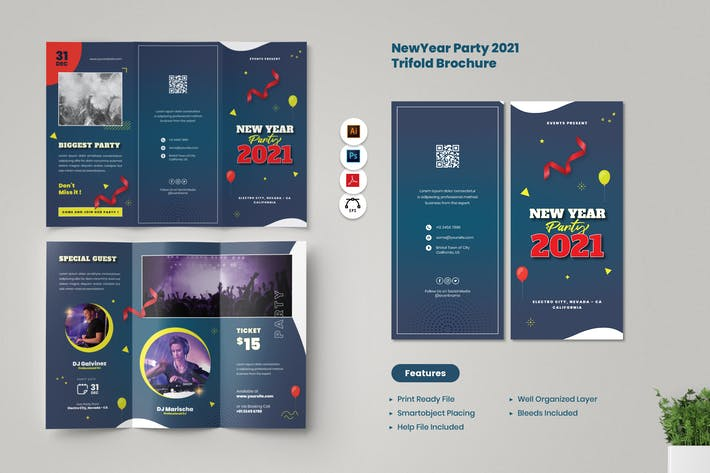 New Year Party Brochure Trifold