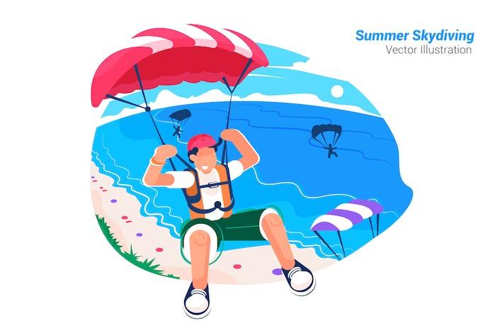 Thumbnail for Summer Skydiving - Vector Illustration