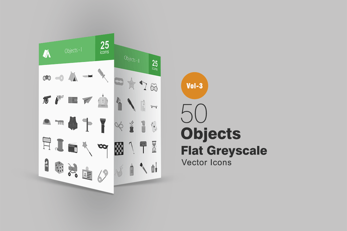 Thumbnail for 50 Objects Greyscale Icons