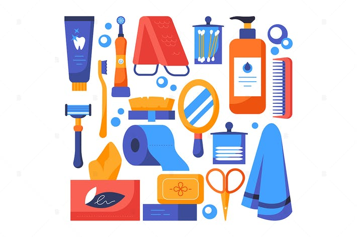 Personal hygiene - flat design style elements
