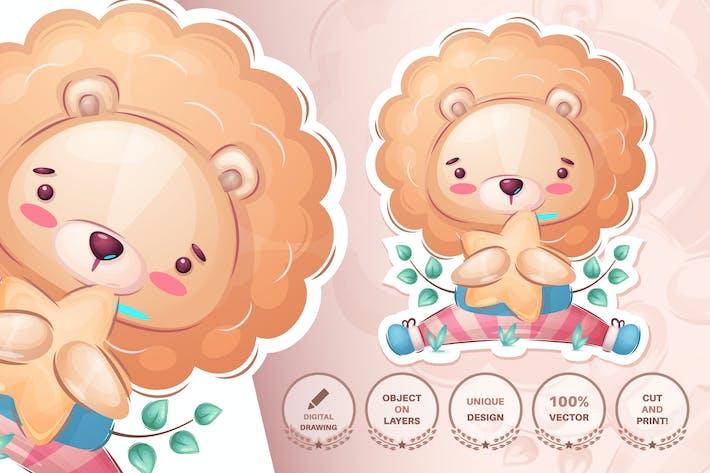 Childish cartoon character animal lion