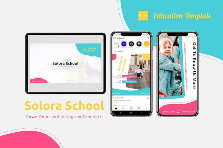 Thumbnail for Solora School - Powerpoint & Instagram Template