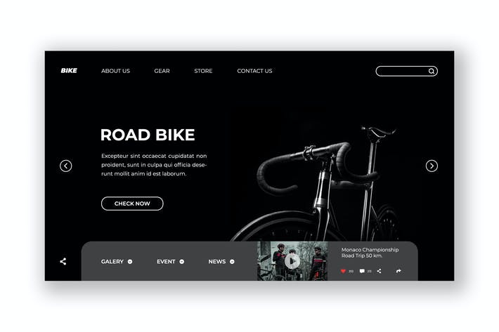 Thumbnail for Road Bike Hero Header PSD Template