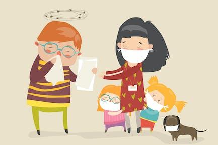 Social worker with kids. Caretaker sick. Vector