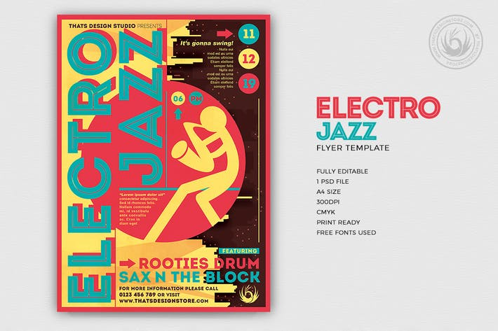 Thumbnail for Electro Jazz Flyer Template