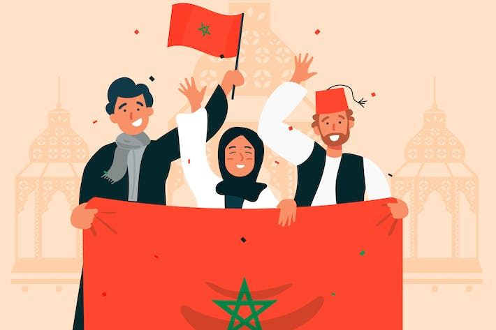 Thumbnail for Happy Morocco National Day - Flat Illustration