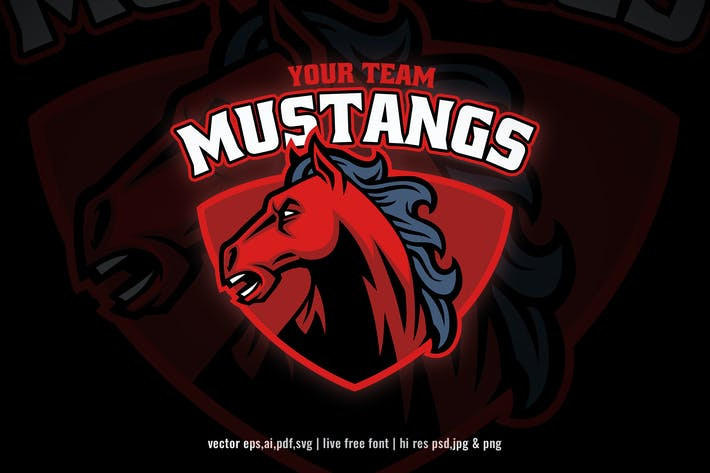 Thumbnail for mustang horse head for sport and esport logo