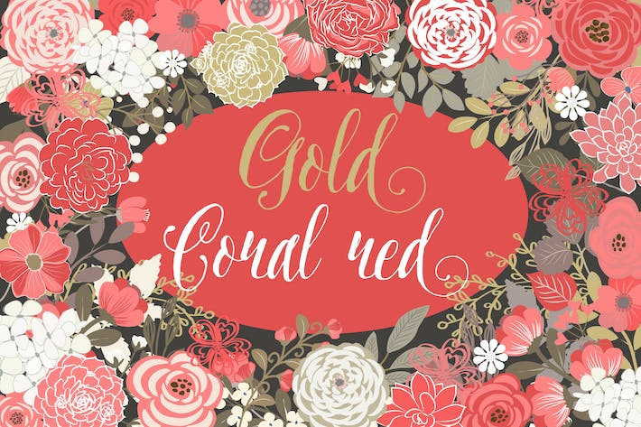 Thumbnail for Vector Gold Coral Red floral elements