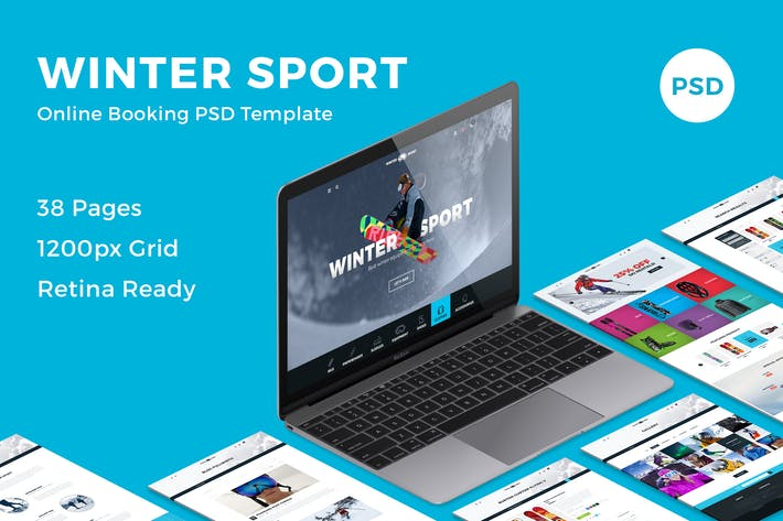 Thumbnail for Winter Sport - Ski & Snowboard Rental PSD Template