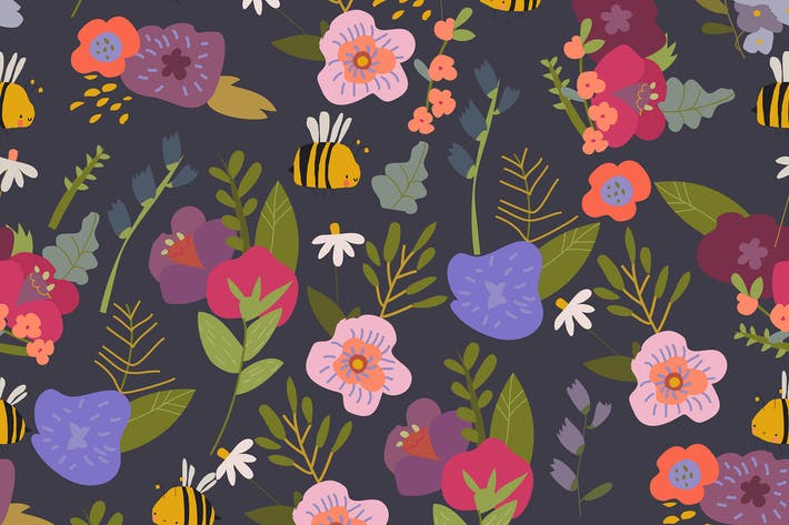 Seamless pattern with Summer Plants and Flowers