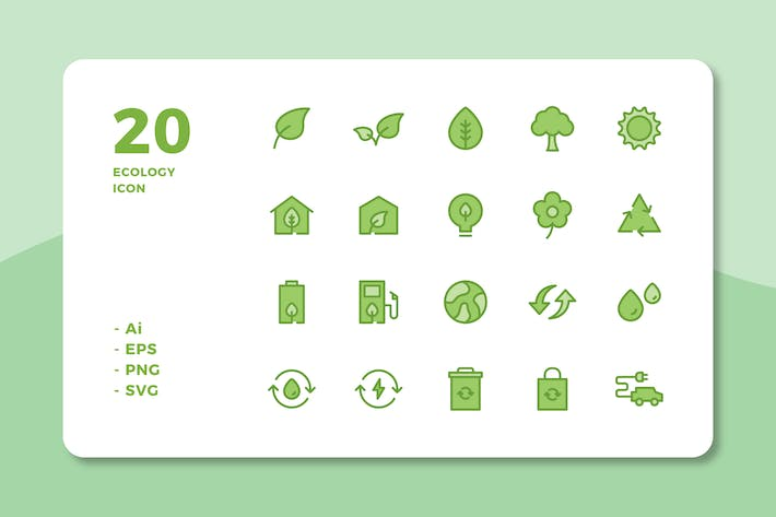 Cover Image For 20 Ecology Icons (Lineal Color)