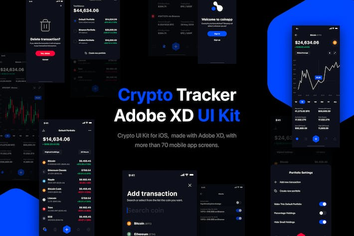 Thumbnail for Crypto Portfolio Tracker UI Kit for iOS
