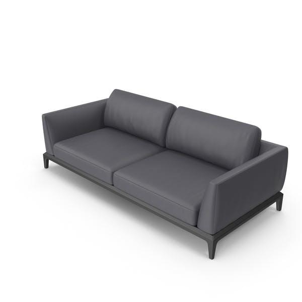 Dark Grey Leather Office Sofa