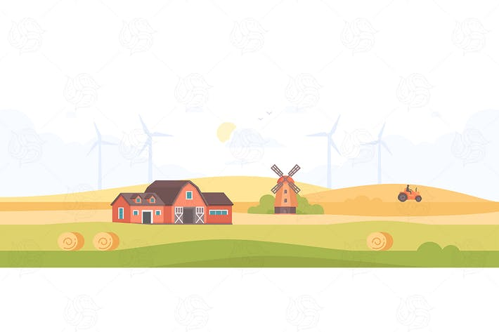 Thumbnail for Countryside - flat design style illustration