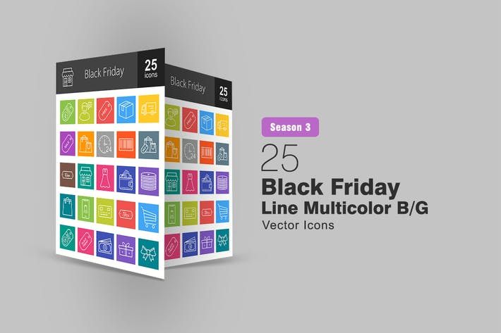 Thumbnail for 25 Black Friday Line Multicolor B/G Icons