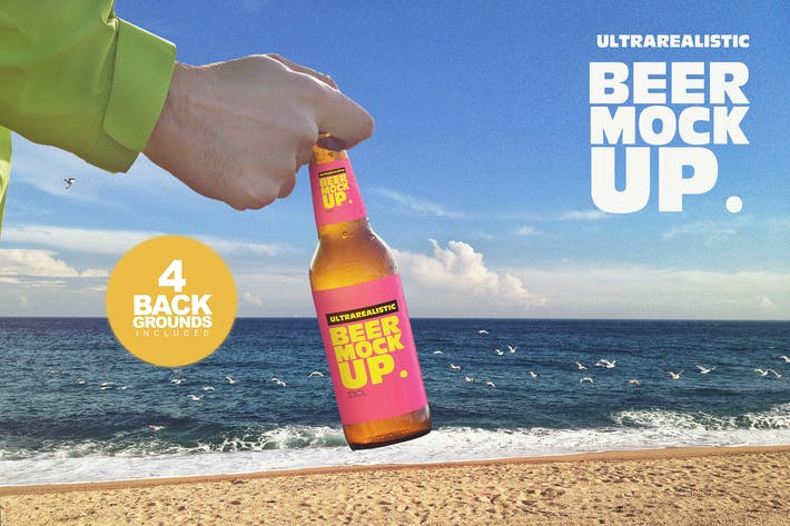 Thumbnail for Beach Backgrounds Beer Mockup