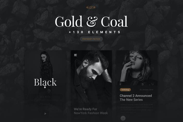 Gold &  Coal - UI Kit for Mobile