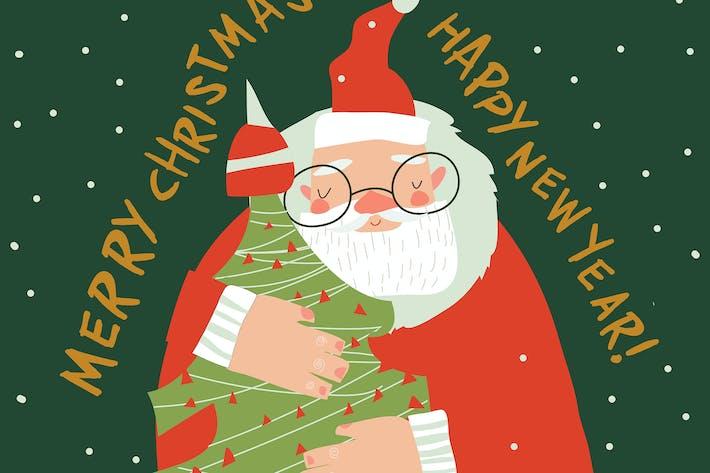Thumbnail for Cartoon funny Santa Claus hugging Christmas tree.