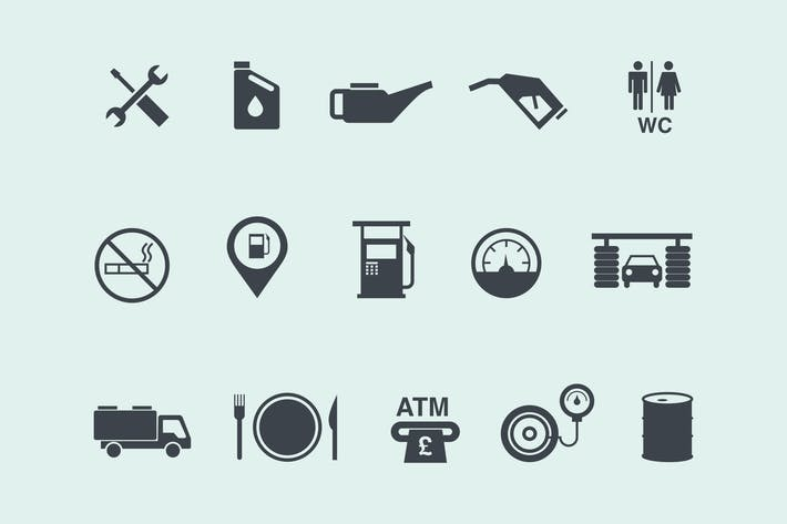 Thumbnail for 15 Gas and Petrol Station Icons