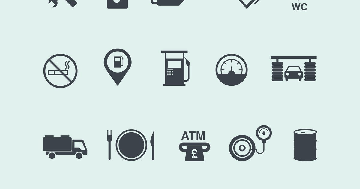 15 Gas and Petrol Station Icons by Unknow