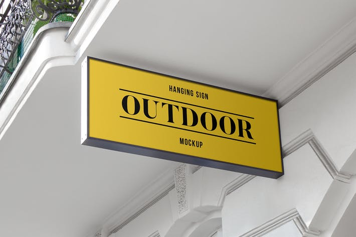 Thumbnail for Outdoor Hanging Logo Sign Mockup #1