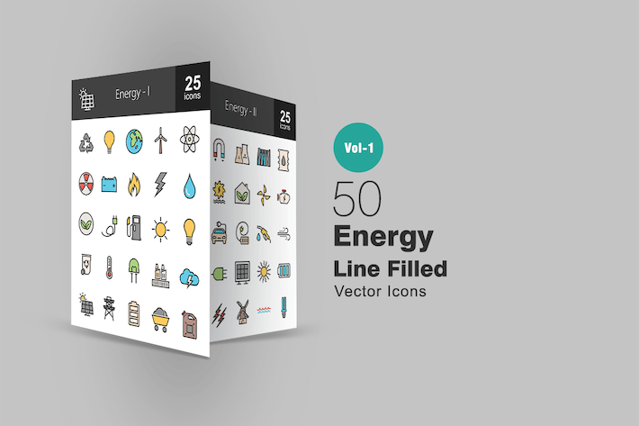 Thumbnail for 50 Energy Line Filled Icons