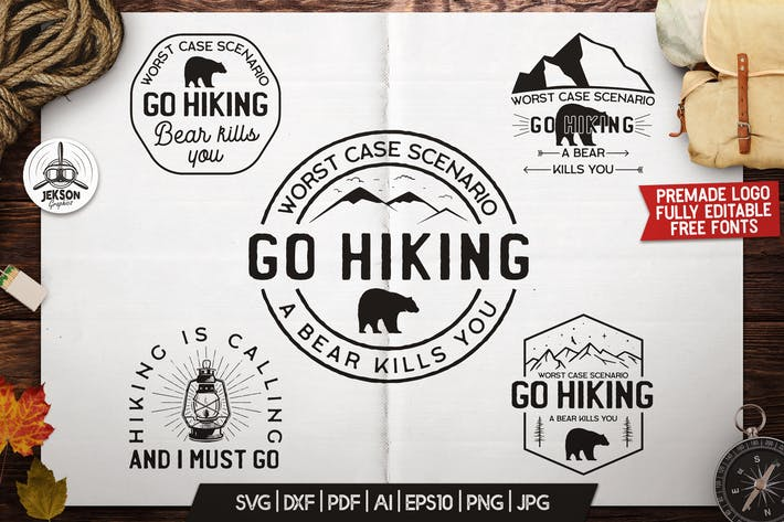 Thumbnail for Mountain Camp Logos, Retro Hiking Badges T-Shirt