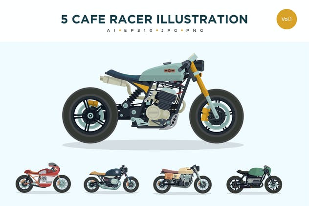 5 Vintage Cafe Racer Vector Illustration Set 1