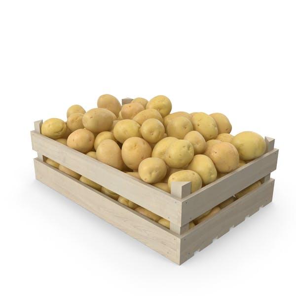 Gelbe Kartoffeln in Holzkiste