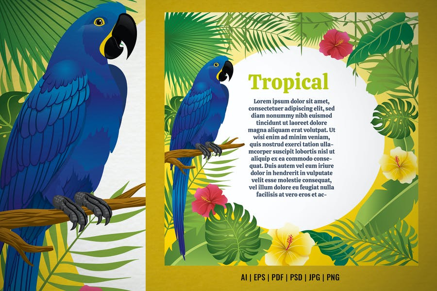 Blue Macaw in Tropical Plants Design
