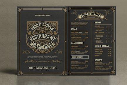 Restaurant Menu Layout with Ornamental Elements