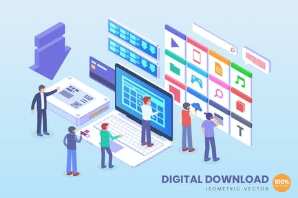 Isometrischer digitaler Download Vektor konzept