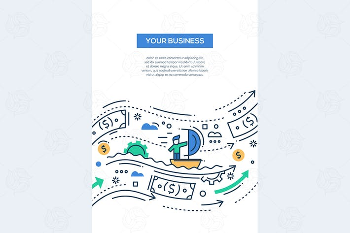 Thumbnail for Your Business - line design brochure poster