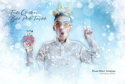 Frosty Christmas Bokeh Photo Effect Template