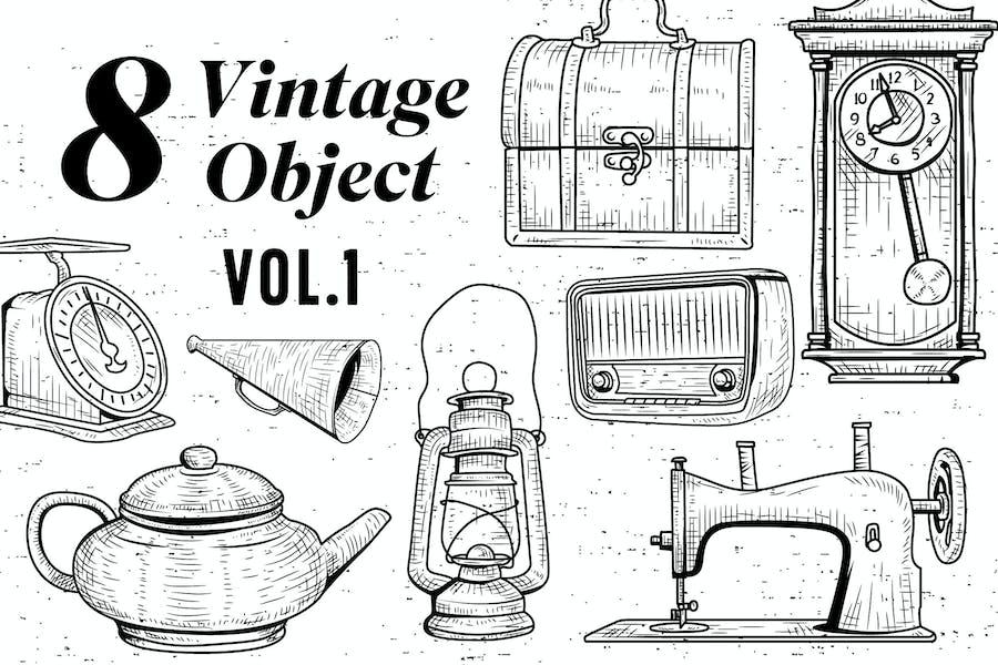 8 Vintage Object - Vol.1