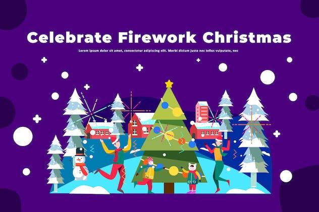 Celebrate Firework Christmas - Winter Illustration