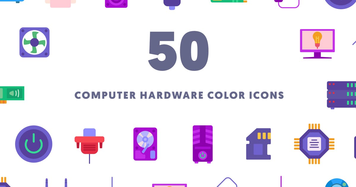Download Computer Hardware Color Icons by thedighital