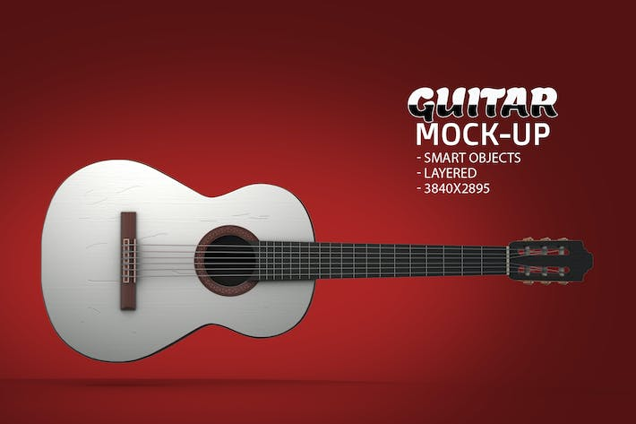Cover Image For Guitar Face PSD Mock-up