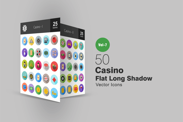 Thumbnail for 50 Casino Flat Shadowed Icons