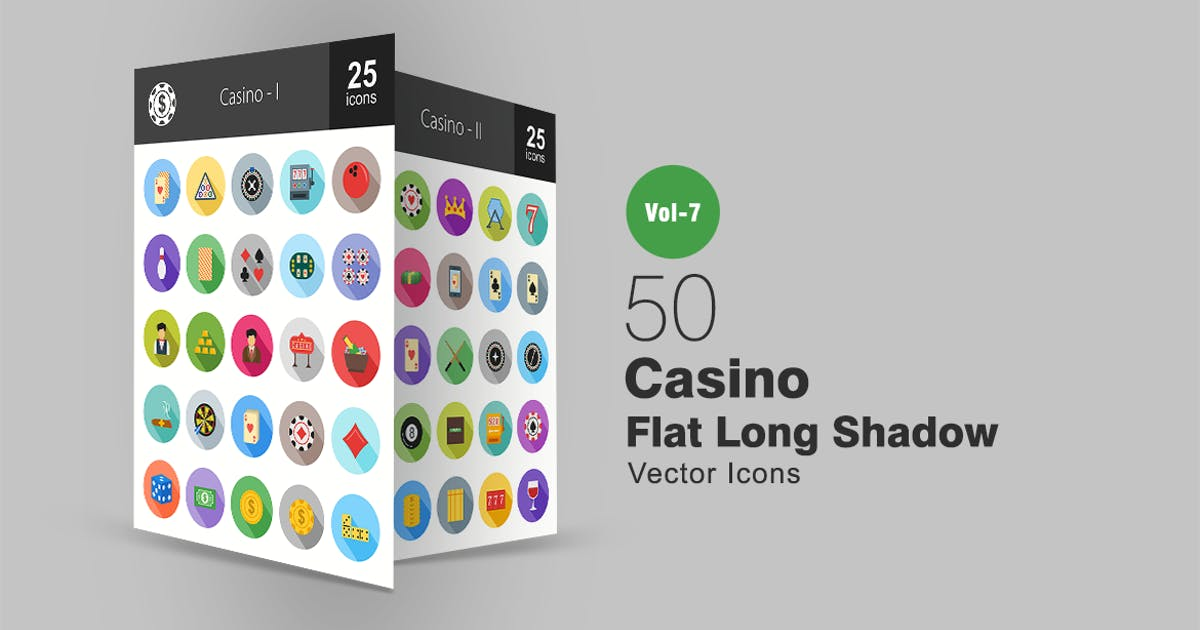 Download 50 Casino Flat Shadowed Icons by IconBunny