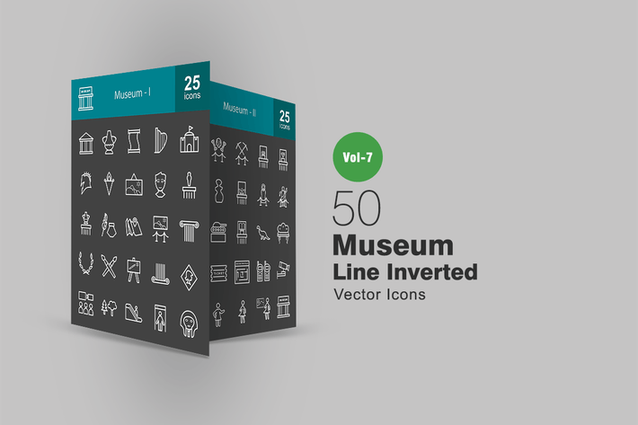 Thumbnail for 50 Museum Line Inverted Icons